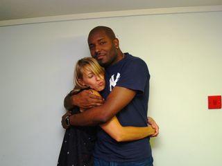 Des Taylor hugs a  drunk Katie Rogers